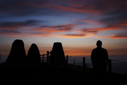 blue crimson sunrise dawn high looking watching moors fiery scottishborders threebretheren