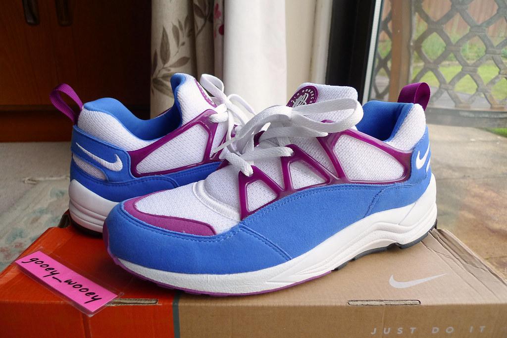 5a0de74f29ebe ... Nike Air Huarache Light  White   Blue Crystal - Red Plum  Mens Retro (
