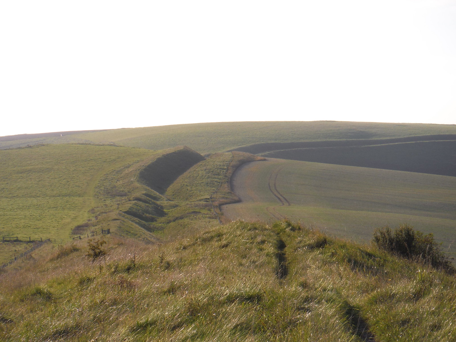 Wandsdyke in the evening sun SWC Walk 255 Pewsey or Marlborough Circular via Avebury