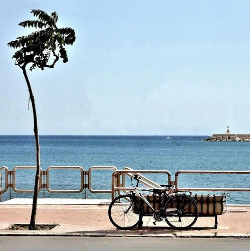 texture square mediterraneo mare bicicleta cielo bici bicyclette albero sicilia trapani carré bicicletta orizzonte marciapiede mazaradelvallo fioriera archifraisernia francescodevincenzi mezzogiornoitaliano