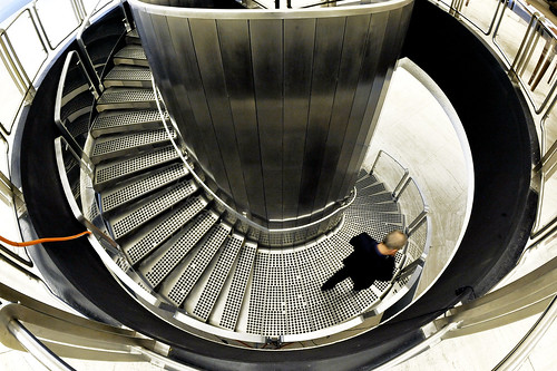 Staircase at Geneva Headquarters | A delegate walks down a ...