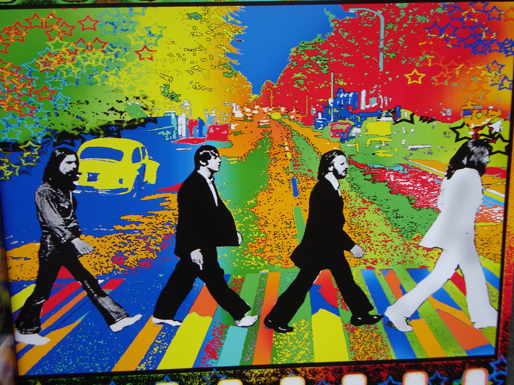 Beatles Abbey Road Album Cover - Psychedelic Rendering ...  Beatles Abbey R...