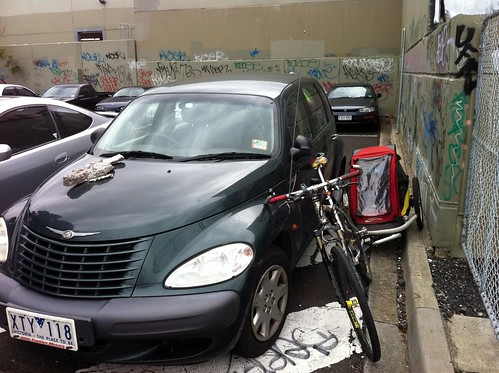 Just enough room to squeeze past the car illegally parked on the bikepath | by ajft