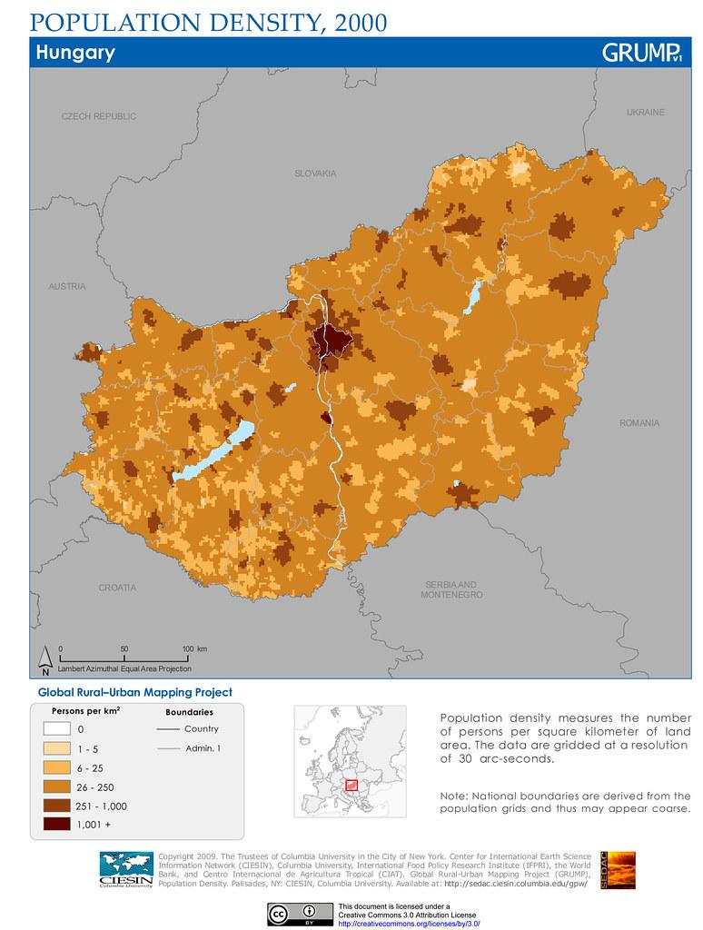 Hungary: Population Density, 2000 | Population density measu