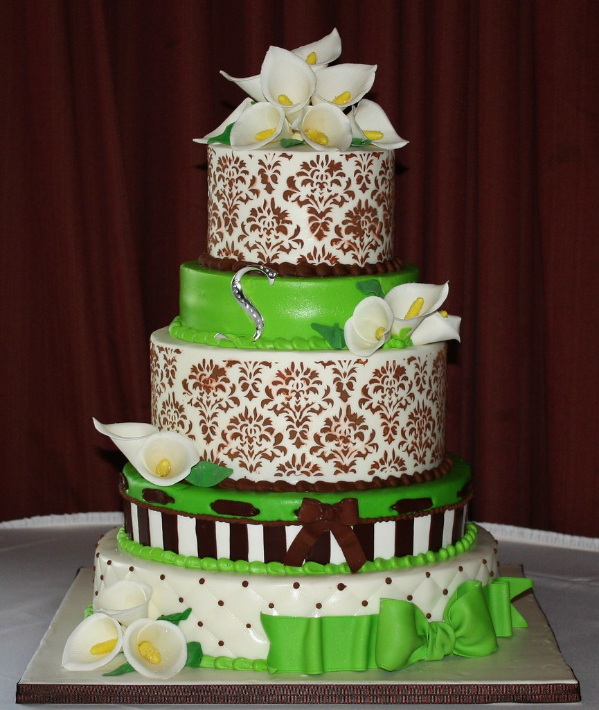 Brown And Lime Green Birthday Cake