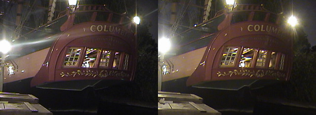 3D, Columbia Sailing Ship, New Orleans Square, Disneyland®, Anaheim, California, night, 2008.08.08 21:22