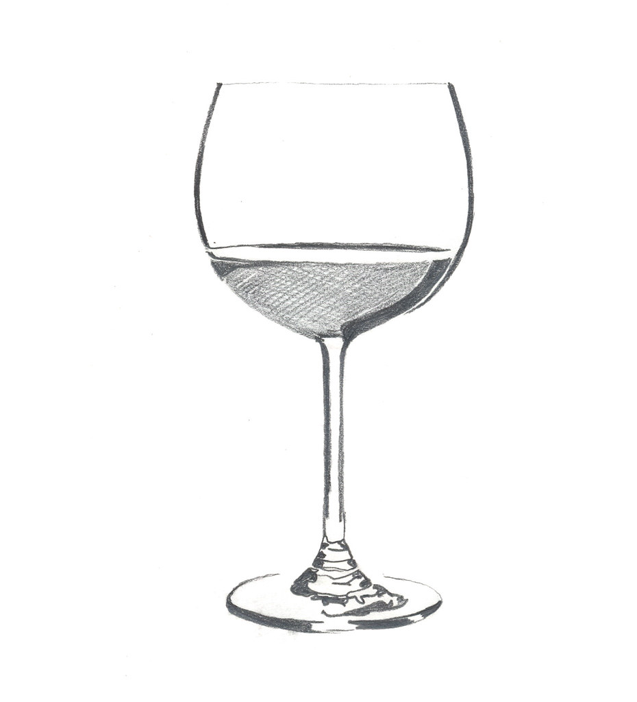 Wine glass quick pencil drawing of a wine glass used in a flickr