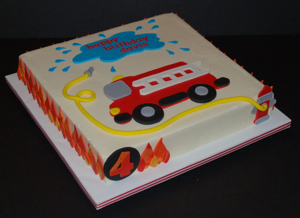 Awesome Firetruck Birthday Cake A Photo On Flickriver Funny Birthday Cards Online Alyptdamsfinfo