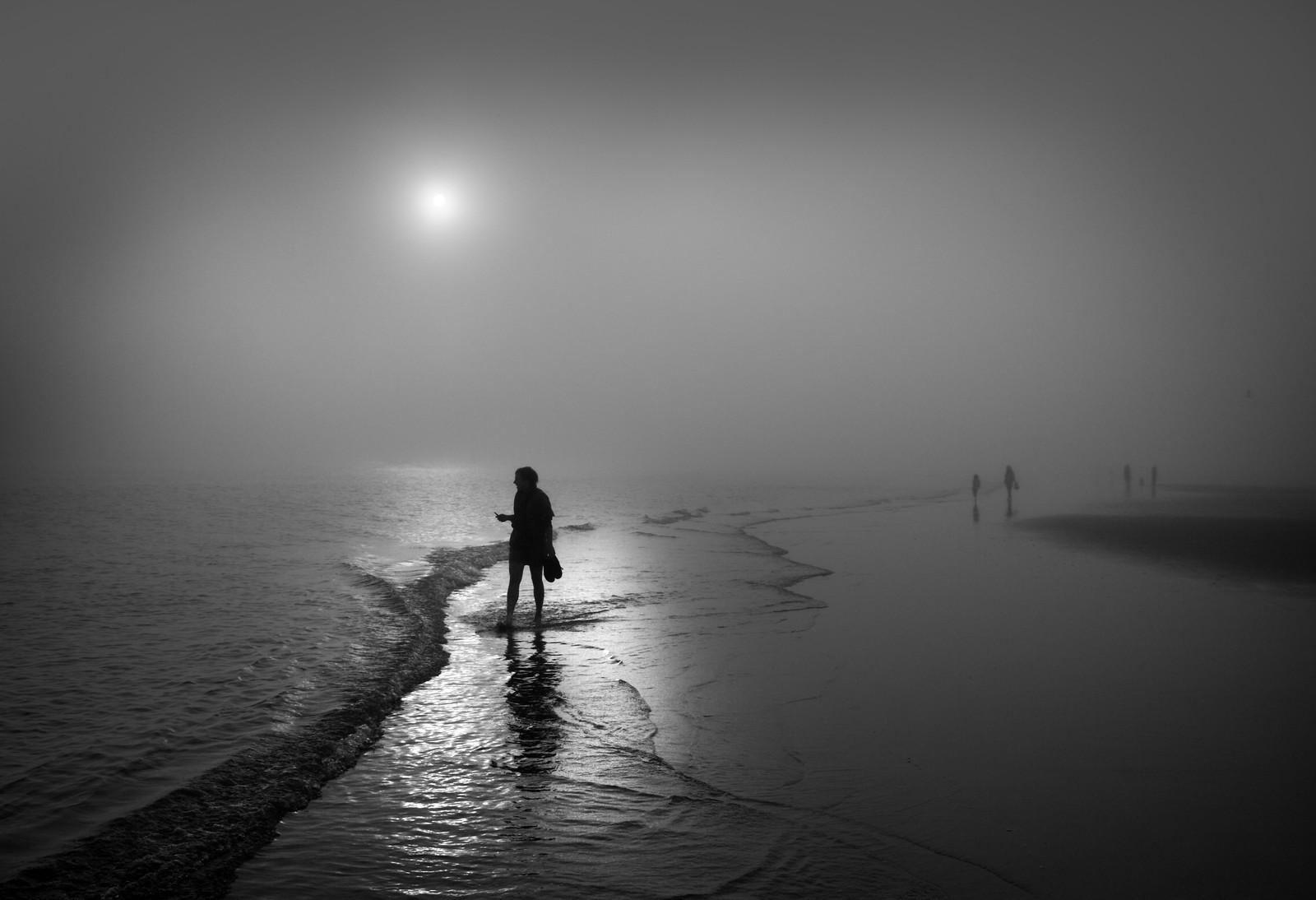 Brighton Beach - Low Tide and Sea Fog