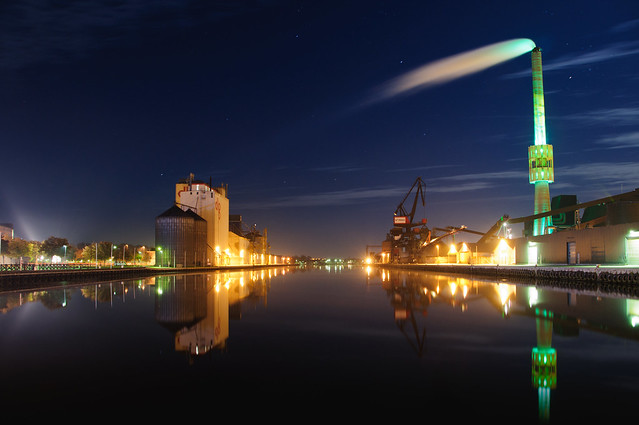 Port of Randers at night
