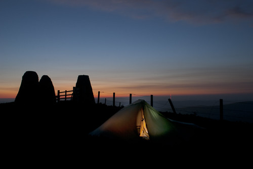 sunrise scotland tent backpacking moors borders threebretheren