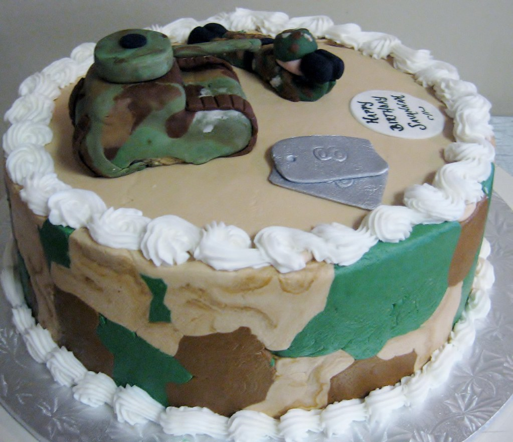 Pleasing Camouflage Birthday Cake With Fondant Dog Tags Tank And S Flickr Funny Birthday Cards Online Aeocydamsfinfo