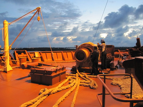 ocean africa sunset sea dusk sailors atlantic menatwork bow ropes atlanticocean onthejob ppe seafaring maersk seamanship boilersuits seafarers winches skyabove containerships maerskline apmollermaersk walvisbaycorridors maerskconakry wafmax