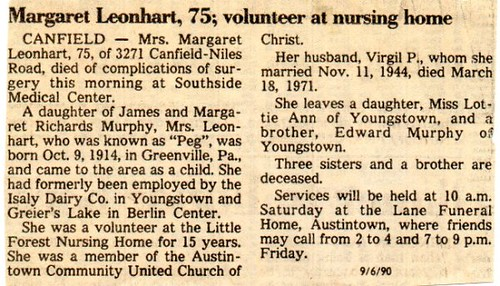 Margaret Murphy Leonhart Obituary | by Katie's Grove