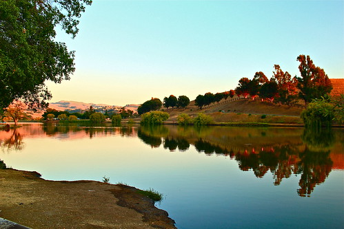 california sunset usa lake reflection milpitas canont2i