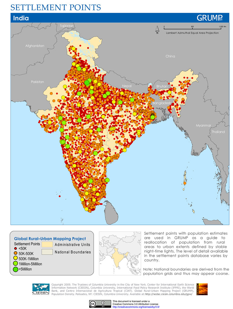 India: Settlement Points | Settlement points with population