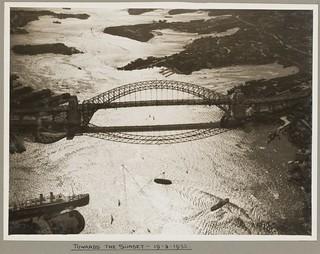 Sydney Harbour Bridge at sunset, 19 March 1932