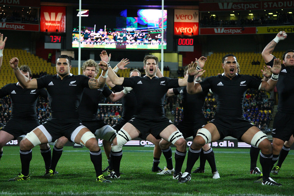 The All Blacks do the Haka, a traditional war dance New Zealand is famous for.