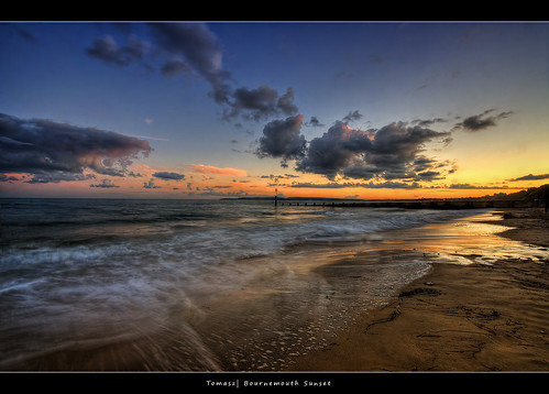 sunset sea england sky english beach clouds sunrise bench canal sand long exposure waves dorset lonely bournemouth hdr channel poole southbourne lamanche
