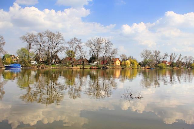 Danube shore in Csepel - water reflections