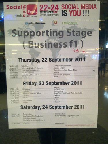 Jadwal di stage f1 fX Sudirman @socmedfest 22-24 Sep 2011