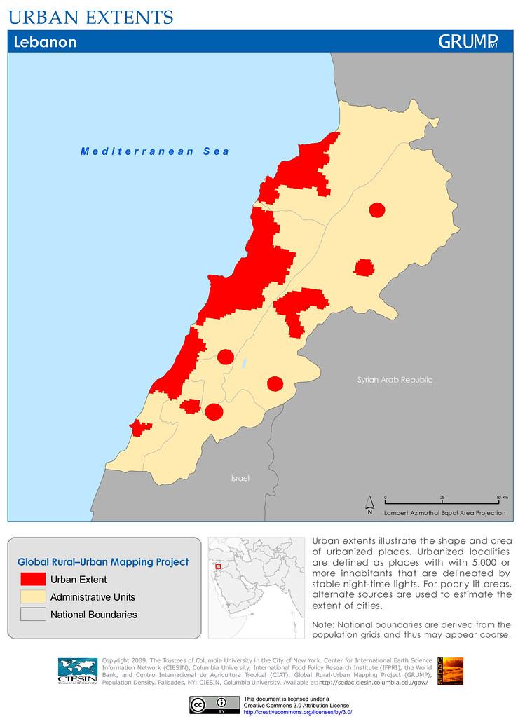 Lebanon Urban Extents