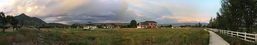 sunset sky panorama usa house nature utah ut wildlife panoramic deer midway 2010 stichedpanorama