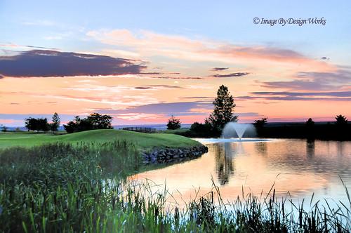 sunset sky reflection water fountain oregon or golfcourse pendleton hdr imagebydesignworks