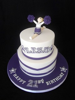 Swell 21St Birthday Cheerleader Cake This Was Made For A Friend Flickr Funny Birthday Cards Online Alyptdamsfinfo