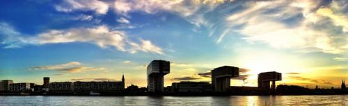 Kranhaus Köln, Rheinpanorama + Sonnenuntergang