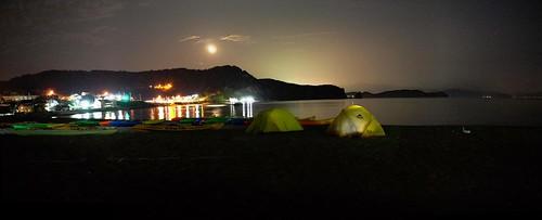 Camping on the beach in front of Blue Holic Kayaks near Otaru, Hokkaido, Japan | by Robert Thomson