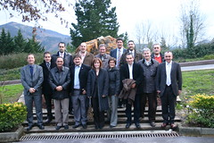 Foto de grupo de frente donde parecen  Jose Luis Clemente Albiz, Jose Antonio, Antonio Bernal, Felix Prol entre otros con los visitantes del Ayuntamiento de Salou