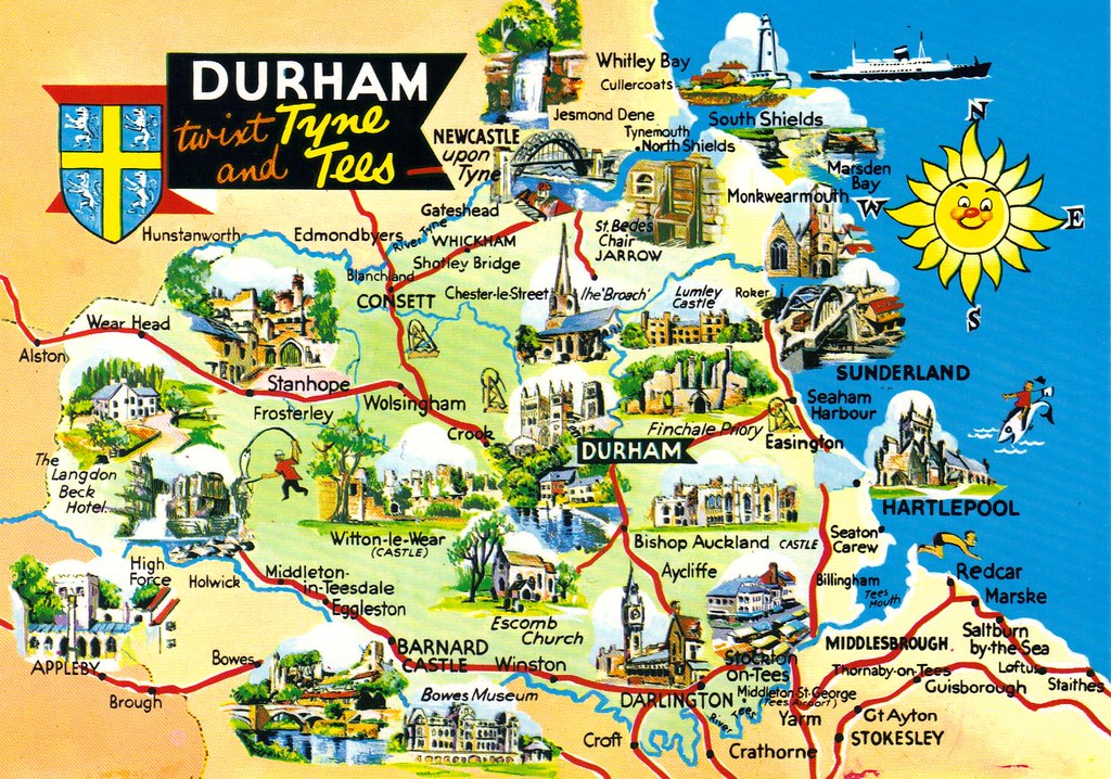 Map Of England Durham.Durham England Uk Map Postcard Written Erin Flickr