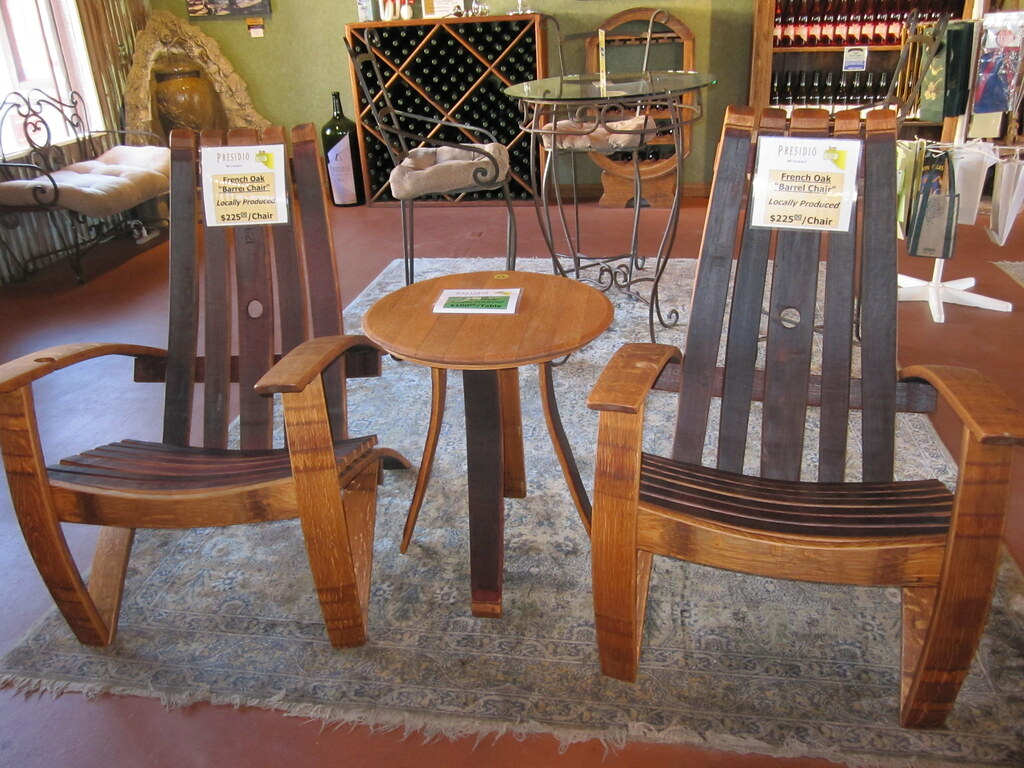 Patio Chairs Made Out Of Wine Barrels Presidio Winery In S