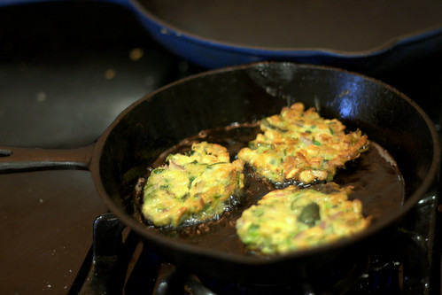 zucchini fritters frying | by psrobin