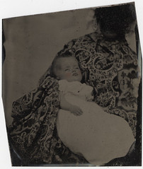 """Post Mortem Baby? - """"Hidden Mother"""" - Cased Tintype Removed from the Mat"""