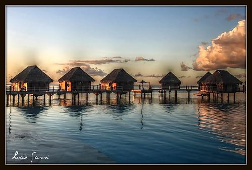 sunset sea art polynesia moorea