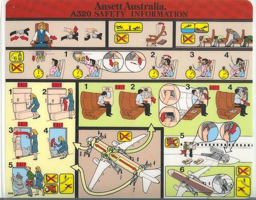 Ansett Australia A320 Safety Card 1990s