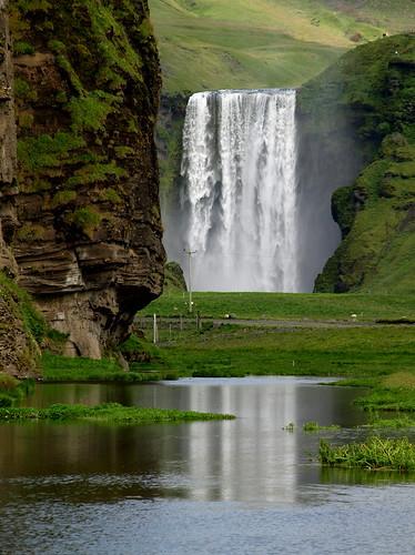 reflection green nature landscape waterfall iceland pond foss skógafoss