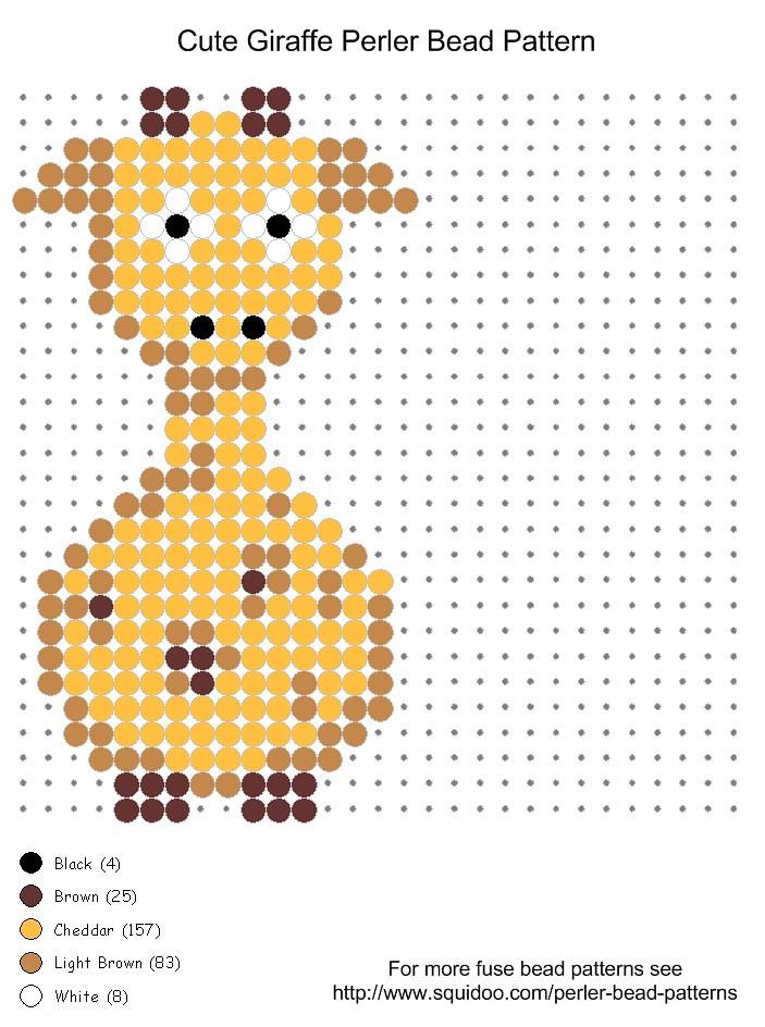 cute giraffe perler bead pattern | Cute giraffe perler bead