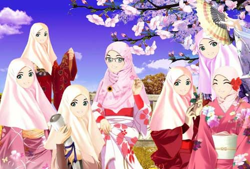 Koleksi Gambar Photo Foto Poto Kartun Jilbab Jepang