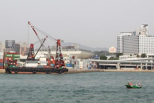 Tiny little fishing boat off Hung Hom