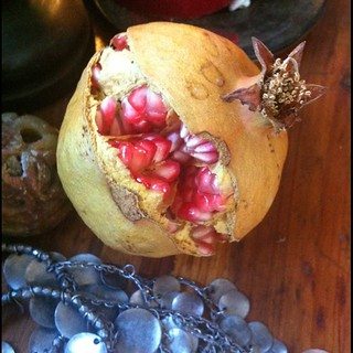 Split pomegranate, silver. It fell too soon from our tree. | by Angeliska