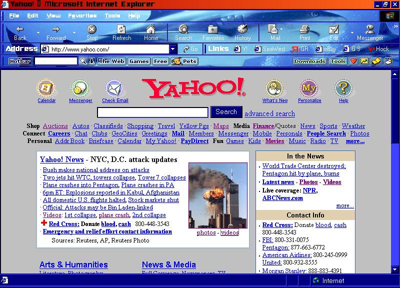 YAHOO Desktop 9-11 | My desktop screenshot on Sept  11, 2001… | Flickr