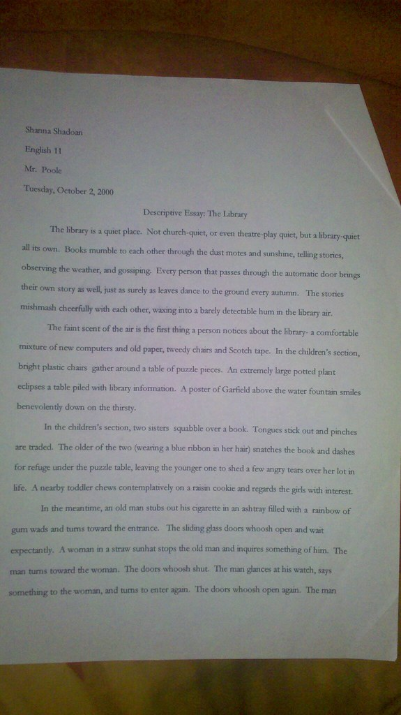 Theme For English B Essay  Healthy Eating Essay also Essay Examples For High School Students The Library Descriptive Essay By Shanna Shadoan Pg   Flickr Process Essay Thesis