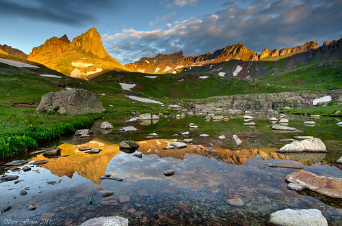 reflection sunrise colorado silverton backpacking icelakebasin nikond7000 nikon1024mmlens