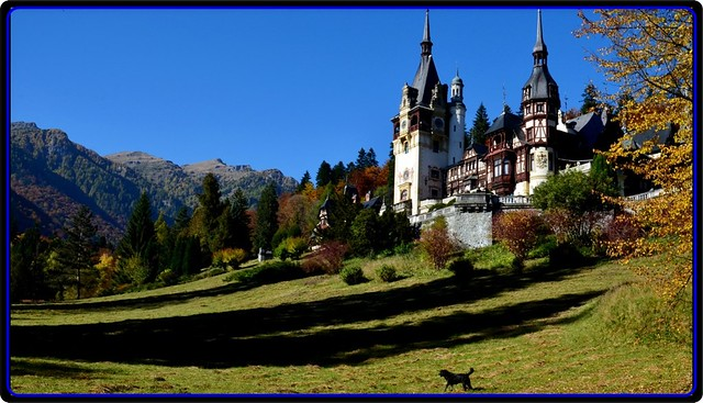 Golden autumn at Peles castle- A perspective to Bucegi mountains