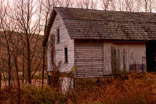 delawarewatergap nyce eshbeck winter glow sunset evening white abandoned empty farm rural building shed doors windows wood siding pennsylvania countryside