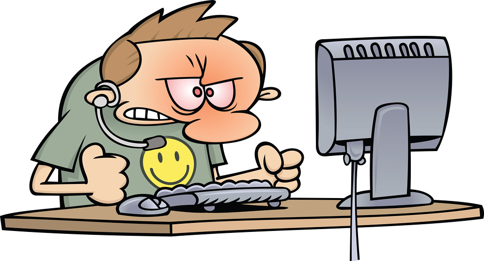 Royalty-Free (RF) Clipart Illustration of an Angry Compute