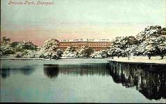 Liverpool c 1900s Postcard - Princes Park Lake and Mansions